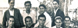"""February, 1943. Early high school graduation, Heraklion, Crete, a clever ruse by the Germans to release young men into the workforce. Helias Doundoulakis, standing far right. John Androulakis, front row, center. John was nicknamed """"Hyrobombida"""", or hand grenade, by Captain Leigh Fermor for his habit of keeping one in his pocket."""