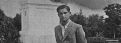 October, 1944. This seemingly innocent youth in Salonica, posing as a businessman, was in reality an OSS agent. Helias Doundoulakis bested the Gestapo's many attempts to find him, photographed here in Salonica just prior to the Germans' retreat.