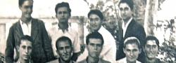"""Februar 1943. Frühzeitiger Abschluss, Iraklio, Kreta. Ein kluger Trick der Deutschen, um die jungen Männer in die Belegschaft zu schicken. Helias Doundoulakis, steht ganz rechts. John Androulakis, erste Reihe,Mitte. John bekam den Spitznamen """"Hyrobombida"""" oder auch Handgranate von Kapitän Leigh Fermor, wegen seiner Gewohnheit immer eine in seiner Tasche zu haben."""