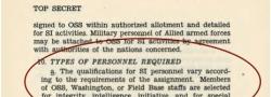 Anforderungen für Rekruten für die OSS Unterabteilung, der SI.
